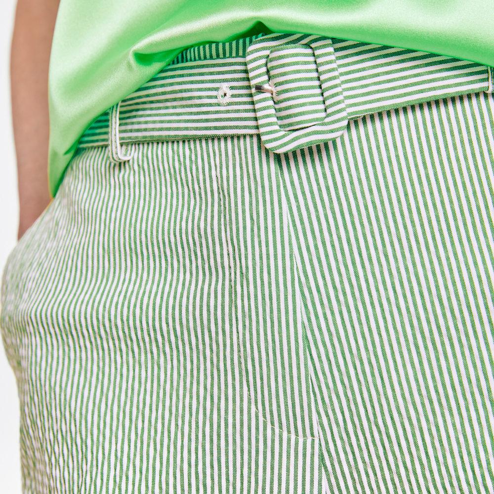 Pantalón crop rayas finas verdes Gerry Weber en gus gus boutique