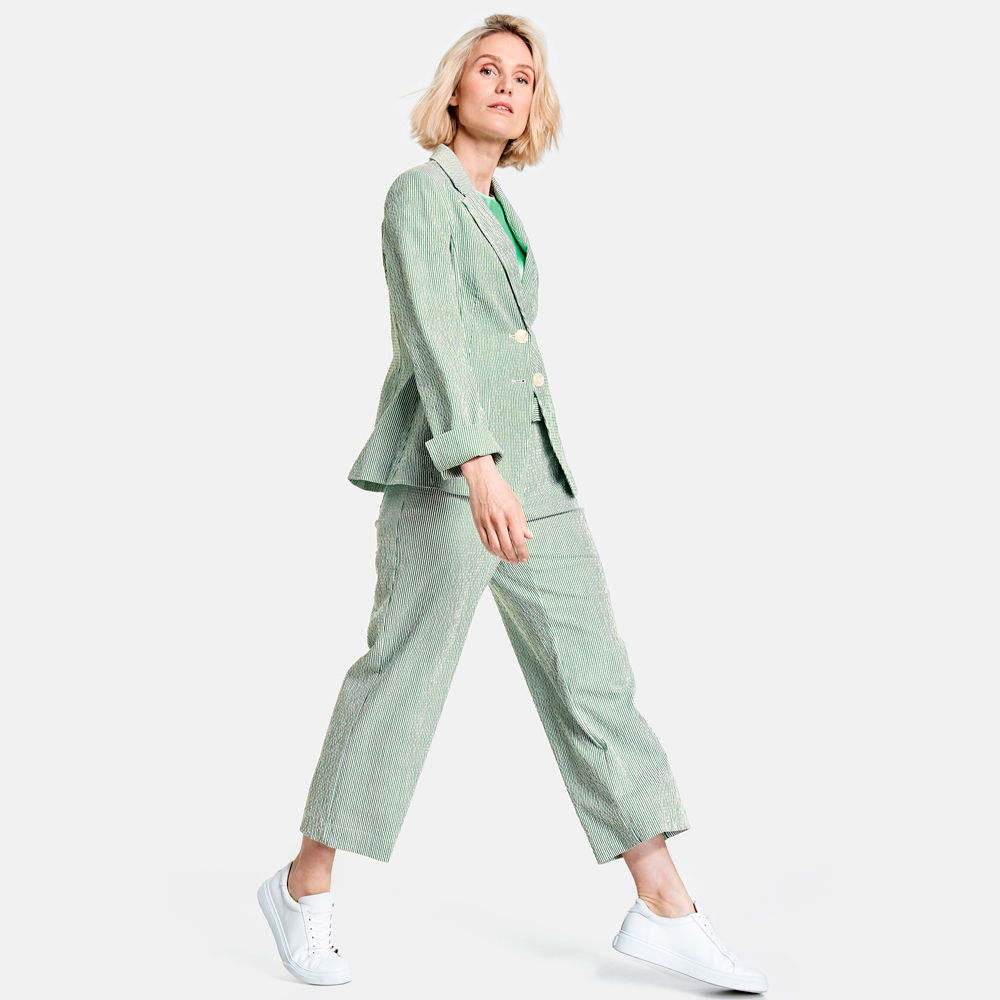 Traje chaqueta mil rayas verdes gus gus boutique