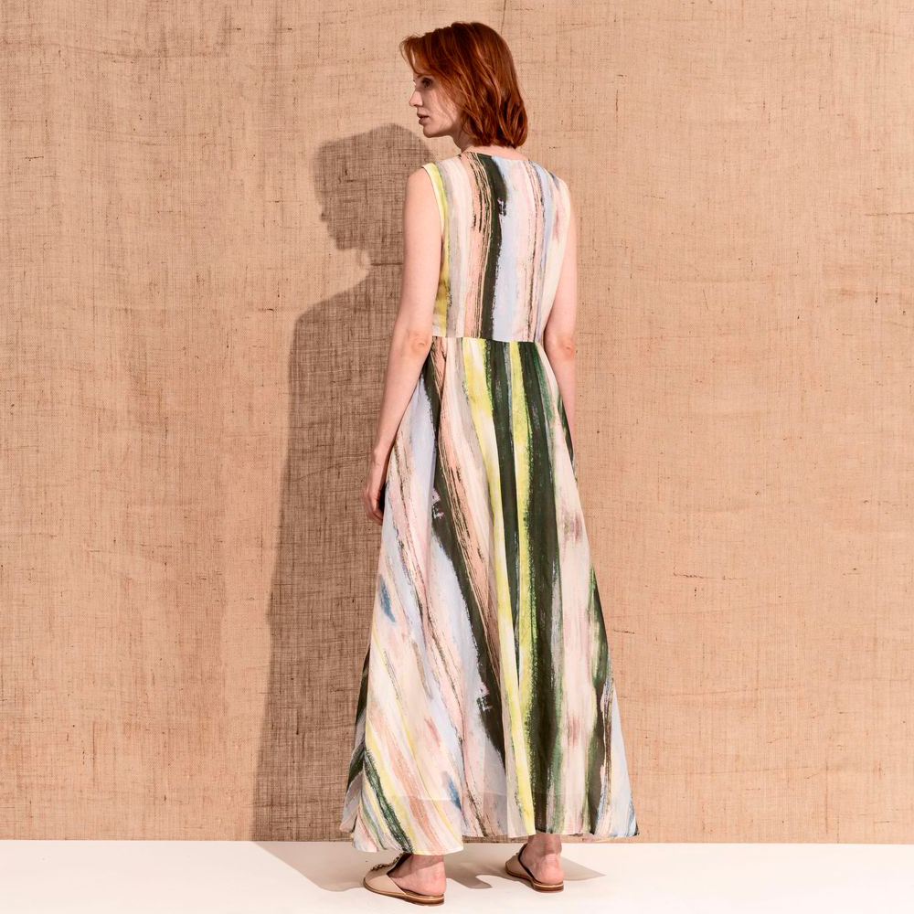 Vestido largo sin mangas con mezcla de seda Skills & Genes en gus gus boutique