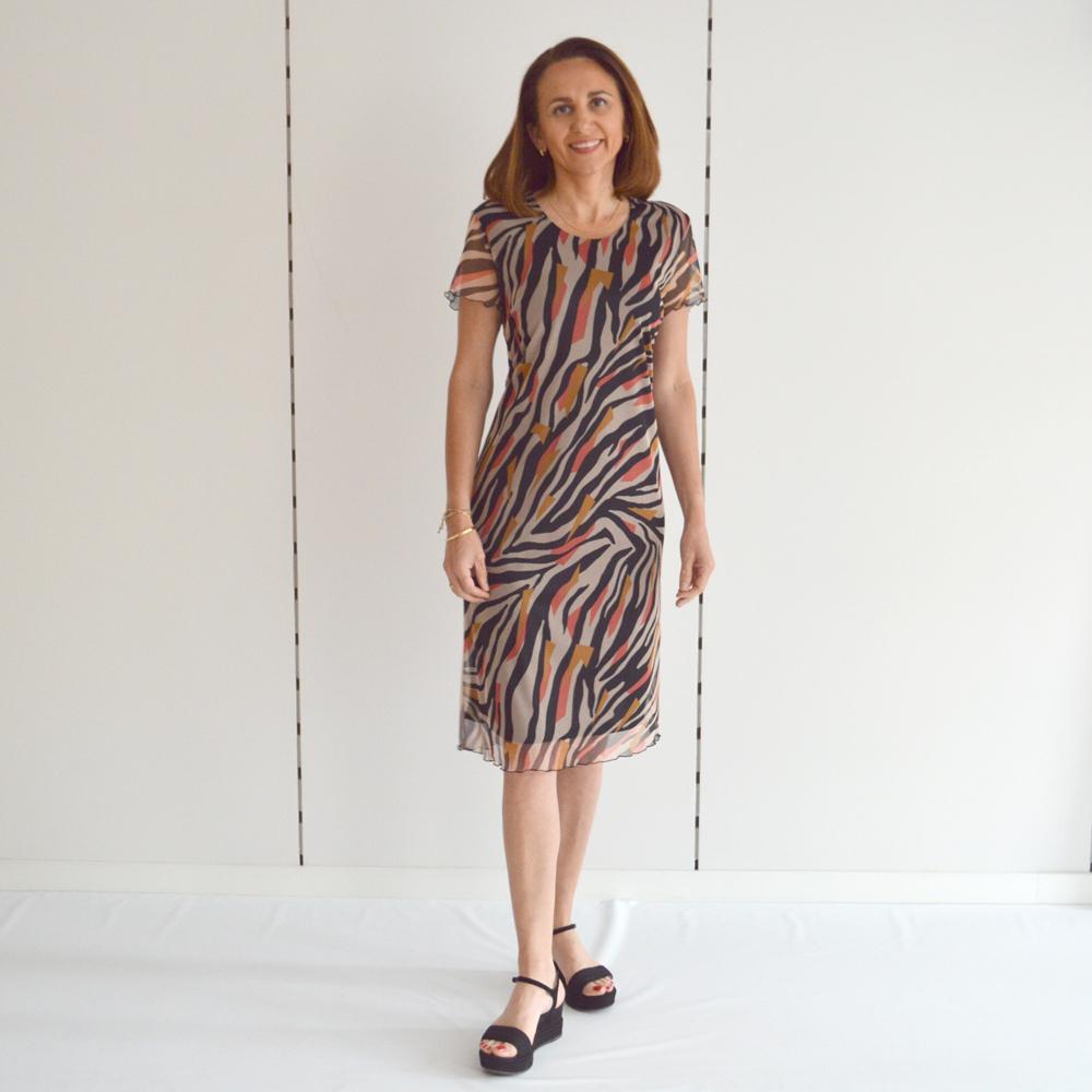Vestido corto de tul estampado Olga Santoni en gus gus boutique