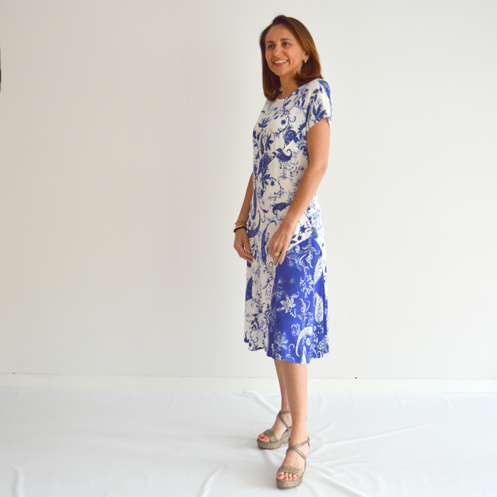 Vestido punto de seda estilo mediterráneo Olga Santoni en gus gus boutique