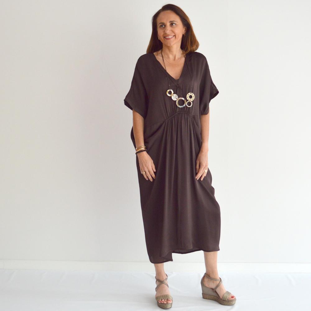 Vestido de satén inspiración oriental en gus gus boutique