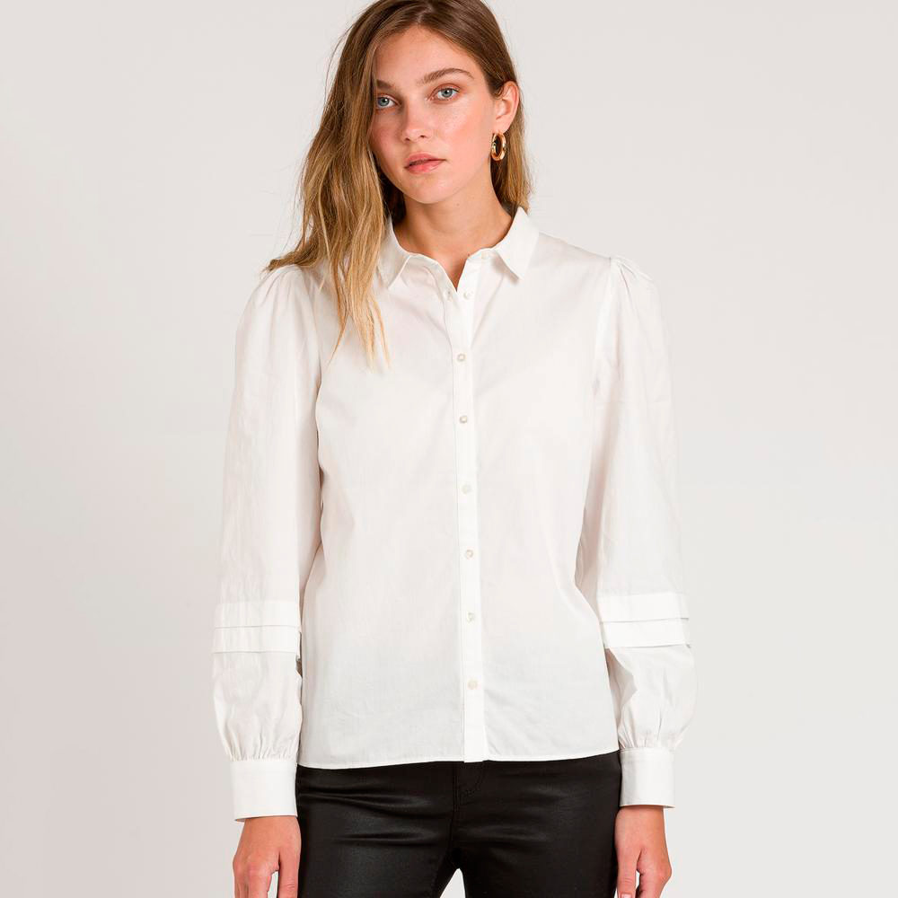 Camisa popelin blanco magas volumen naf naf en gus gus boutique