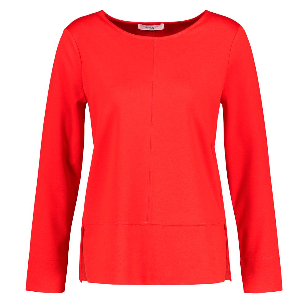 Top rojo de manga larga con costuras Gerry Weber en gus gus boutique