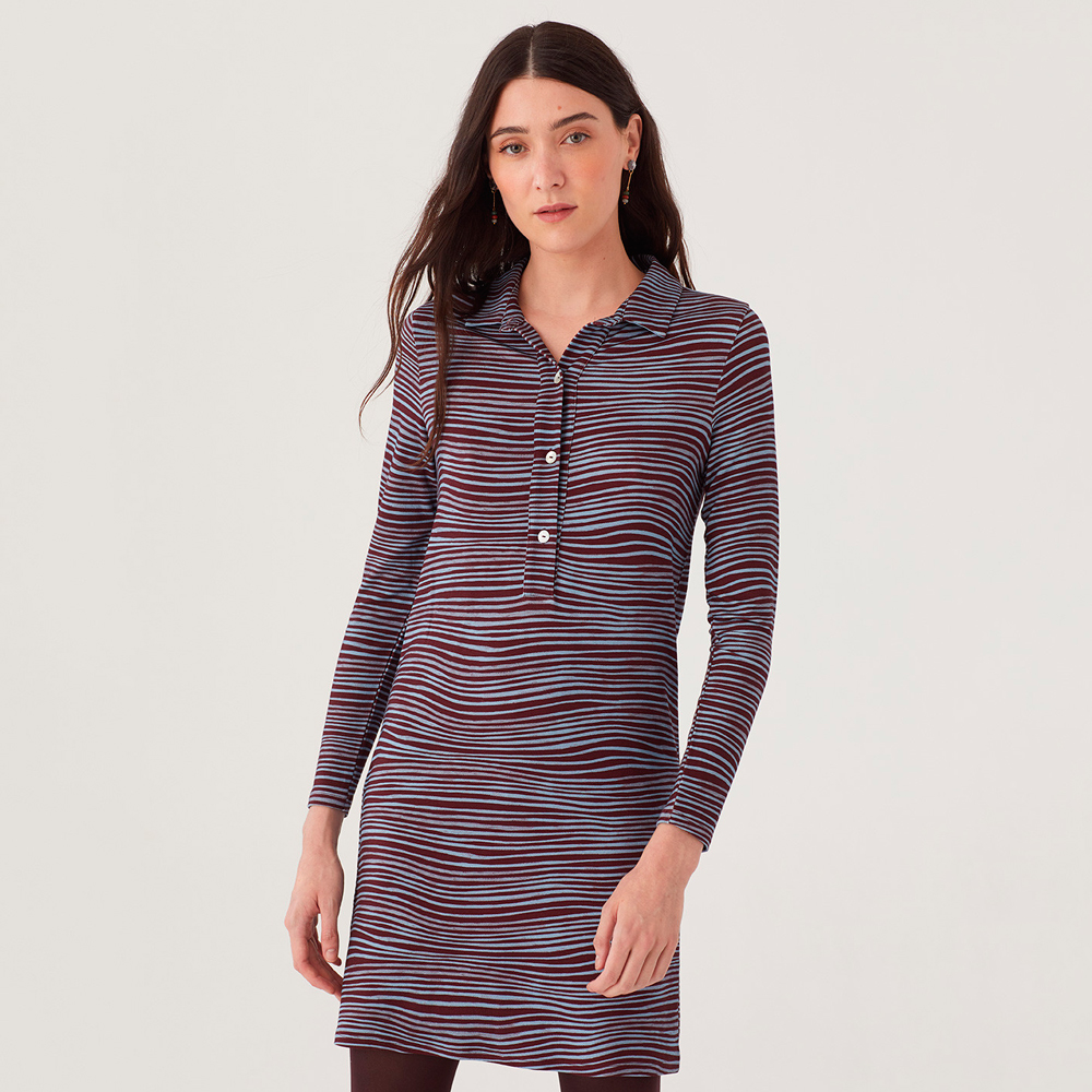 Vestido cuello polo rayas onduladas nice things moda mujer niche things en gus gus boutique
