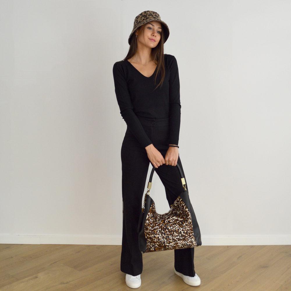 Jersey negro punto fino entallado Please Fashion en gus gus boutique
