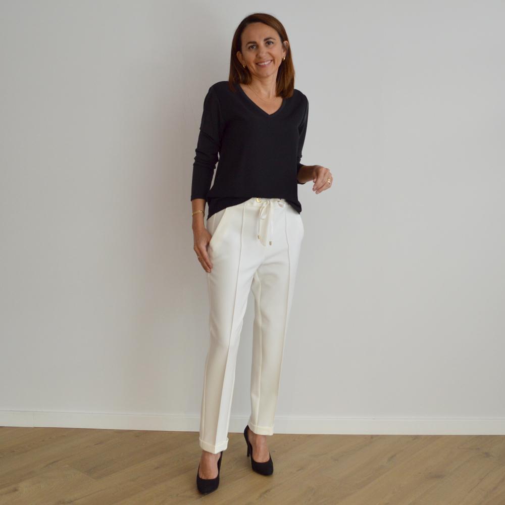 Pantalón marfil con lazada Alba Conde en gus gus boutique